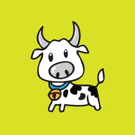 drawing cartoon: Cow drawing cartoon character vector Illustration