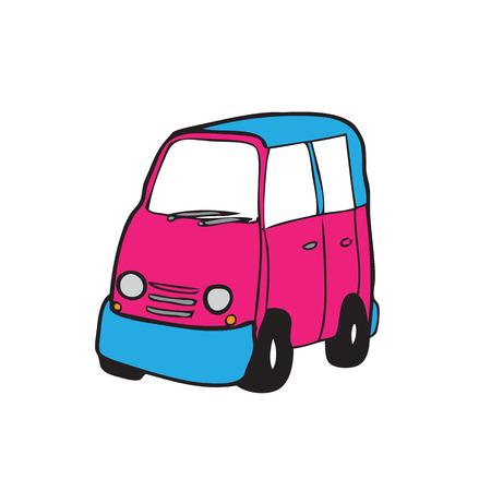 minivan: Minivan cartoon vector drawing pink