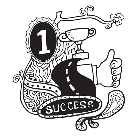 spotless: Success pattern doodle cartoon vector