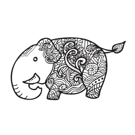 black and white line drawing: Elephant pattern line drawing vector