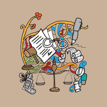 Justice and law cartoon doodle Vectores