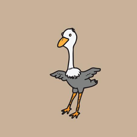 drawing cartoon: Ostrich character drawing cartoon vector Illustration