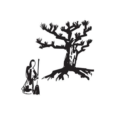 zen garden: Zen priest sweep garden drawing