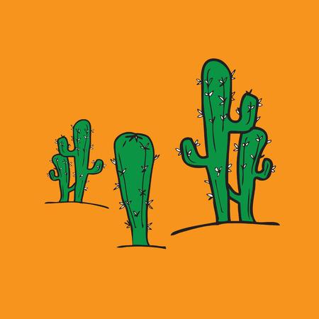 cactus desert: Cactus karakter cartoon vector