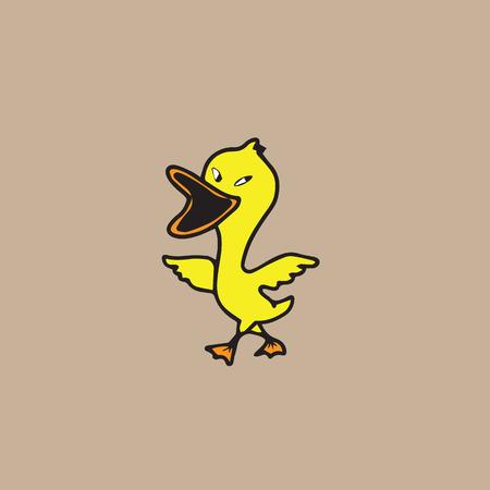 yellow character: Duck yellow character cartoon vector Illustration