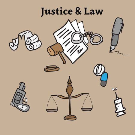 black wigs: Justice and law cartoon doodle Illustration