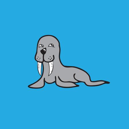 walrus: Walrus drawing character cartoon vector Illustration
