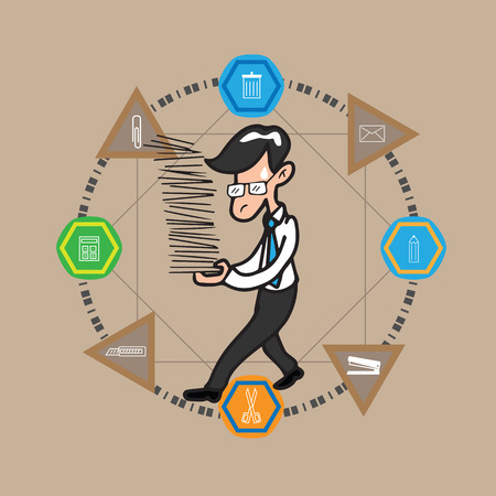 holds: Businessman holds document infographic vector