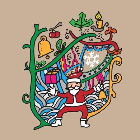 Christmas and Santa doodle cartoon vector Vector