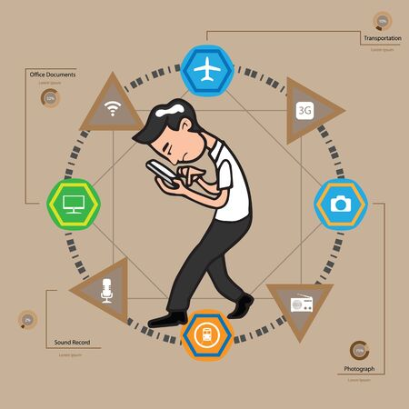 Man using mobile phone infographic vector Illustration