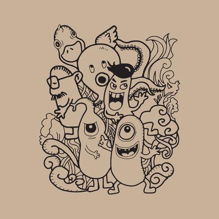 monster teeth: Aliens and Monsters cartoon doodle