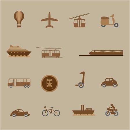 mass: Transportation mass and private icons set Illustration