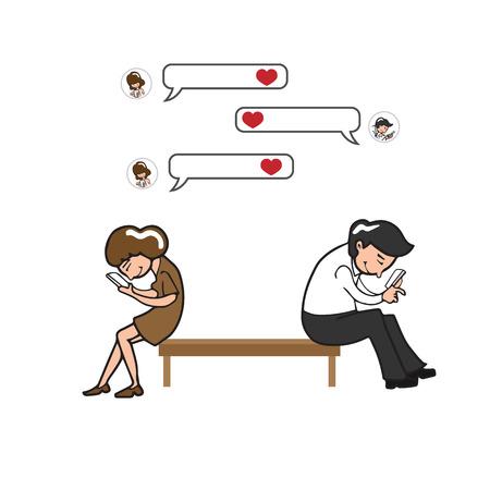 mujer enamorada: Hombre y mujer de mensajes de texto de amor en el tel�fono m�vil Vectores