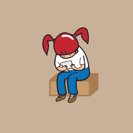 addicted: Girl mobile phone addicted cartoon vector Illustration