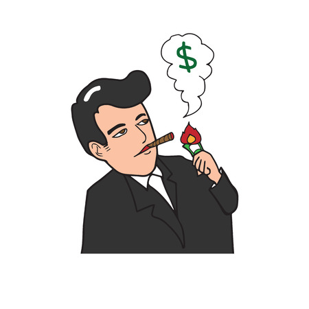 hombre fumando puro: Hombre rico cigarro fumar dólar quema