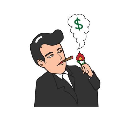 arrogant: Rich man smoking cigar burning dollar