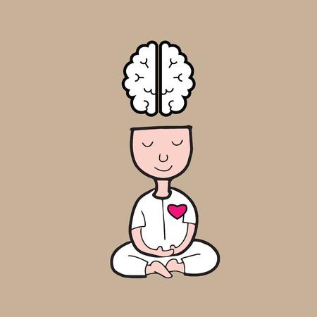 Man m�ditation pour le cerveau et le c?ur harmonie Illustration