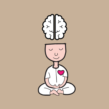 Man meditatie voor de hersenen en het hart harmonie