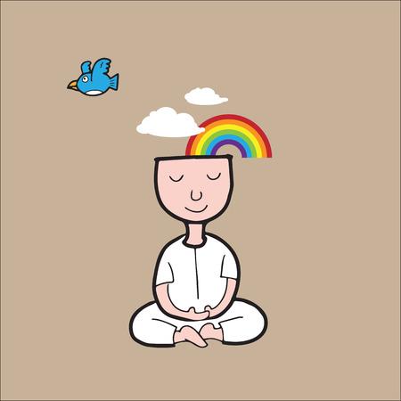 Człowiek medytacji w ciszy i przyrody Ilustracje wektorowe
