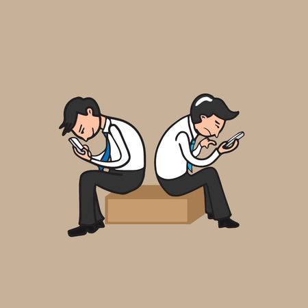 addicted: Businessmen texting on mobile phone Illustration
