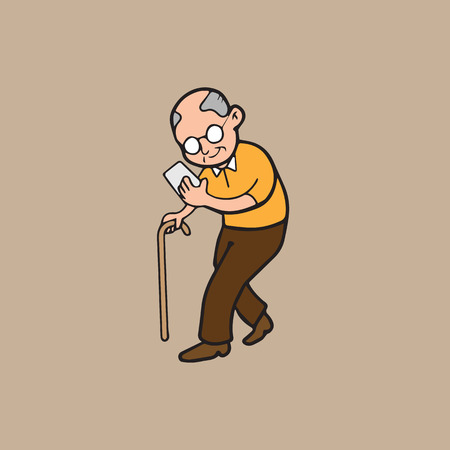 old cell phone: Old man walking and texting on mobile phone