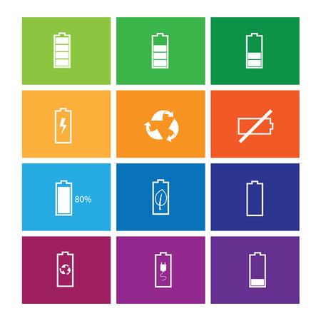 status: Battery status icons set windows Illustration