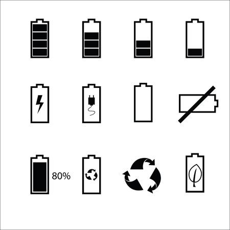 status: Battery status icons set black