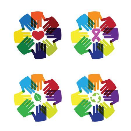 haciendo el amor: Amor Manos círculo y cuidar colorido icono