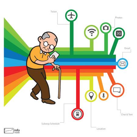 addicted: Smartphone addicted old man vector Illustration