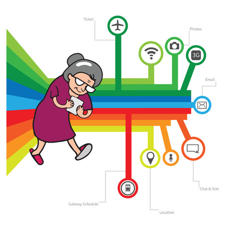 woman smartphone: Smartphone addicted old woman vector
