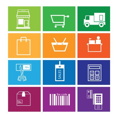 Shopping and sale icons set windows Vector
