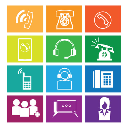 telephone operator: Telephone and operator icons set windows
