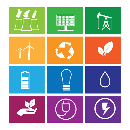 reservation: Energy reservation and recycle icons windows flat Illustration