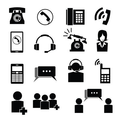 telephone operator: Telephone and operator icons set