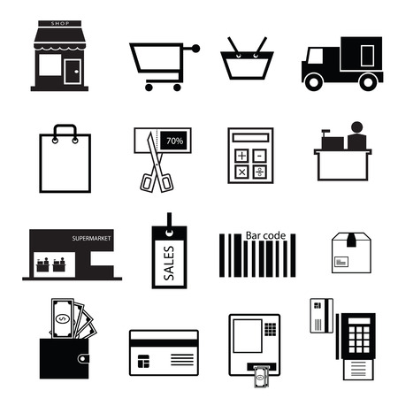Shopping and sale icons set Vector