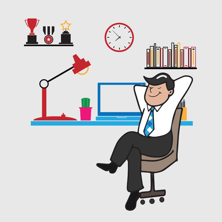 Man sits relaxing in office cartoon vector Illustration