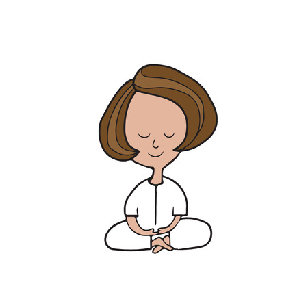 calm woman: Meditation woman sitting cartoon vector