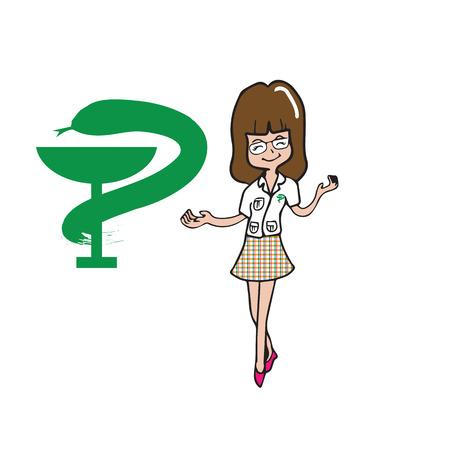 druggist: Pharmacist woman cartoon character vector Illustration