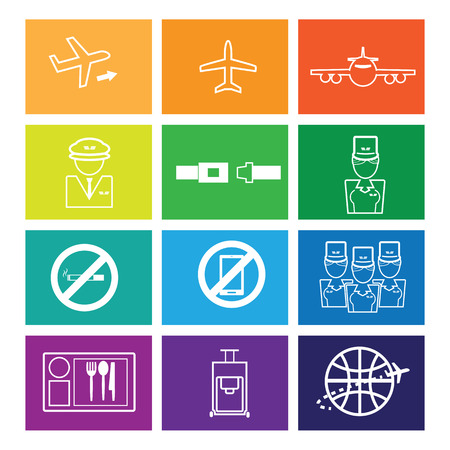 airways: Airways service icons set flat line