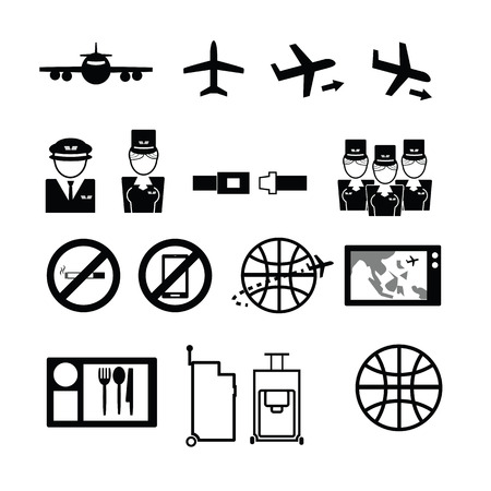 airways: Airways service icons set flat
