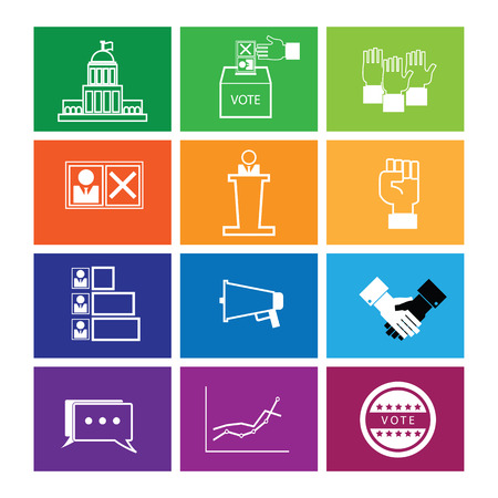 Election vote democracy icons set line flat Illustration