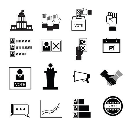 Election vote democracy icons set Vectores