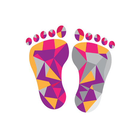 Feet polygonal shape design vector