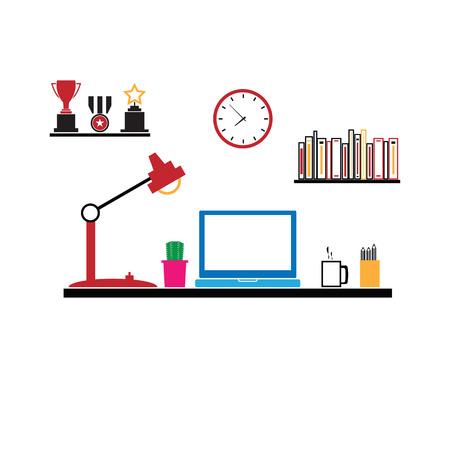 espacio de trabajo: Espacio de trabajo de oficina Muebles de ordenador vectorial