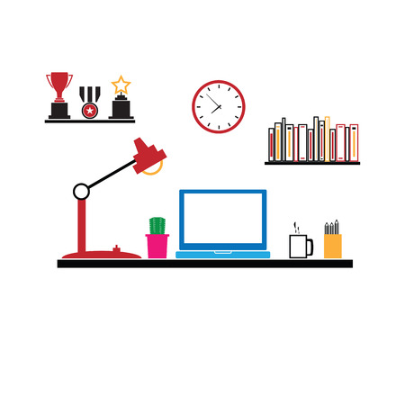 furniture computer: Office workspace furniture computer vector Illustration