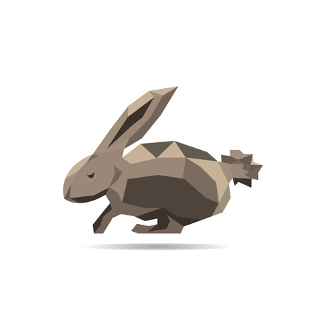 lop: Animal polygonal rabbit shape design vector