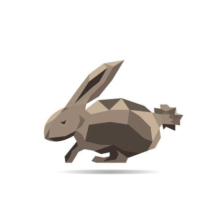lop: Animal polygonal rabbit shape design vector
