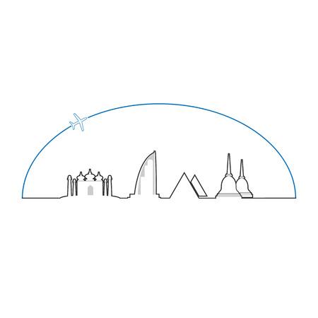 stupa: Travel Asia icon line design airplane Illustration