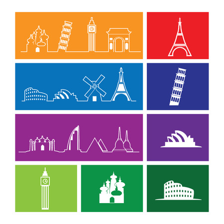 travel location: Travel location landmark icons set line flat Illustration