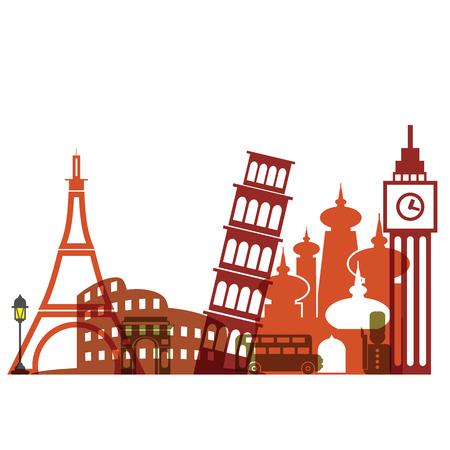Travel Europe landmark architecture flat Illustration
